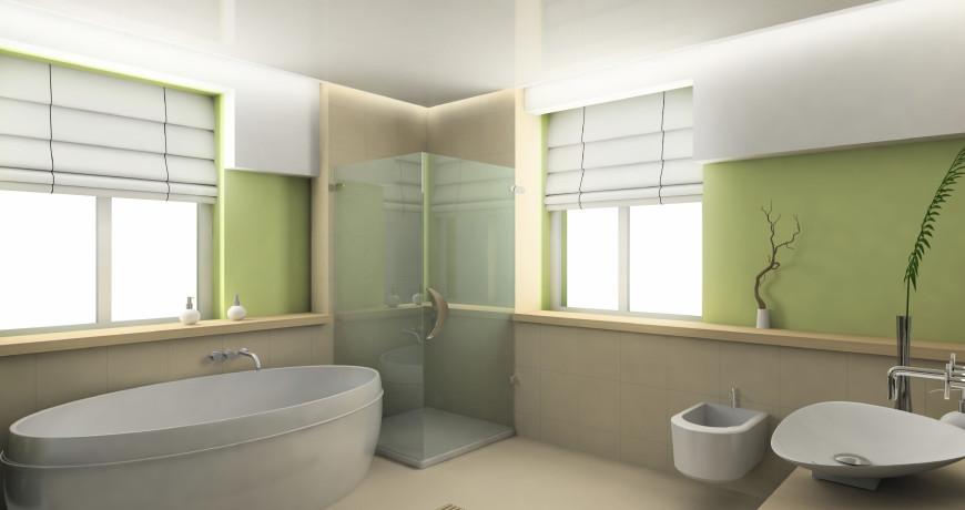 Modern interior. 3D render. Bathroom. Exclusive design.